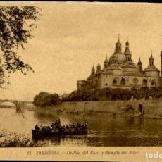 Postales: ZARAGOZA – 23 ORILLAS DEL RIO EBRO Y TEMPLO DEL PILAR - 9X14 – ED. ARRIBAS. Lote 151882826