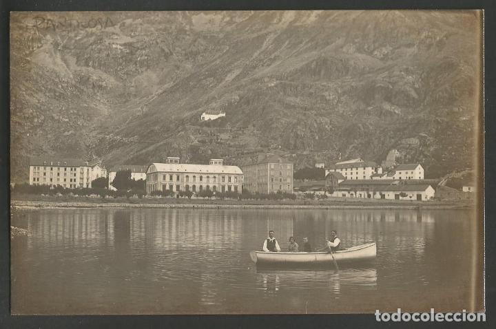 BALNEARIO DE PANTICOSA-VISTA DEL BALNEARIO Y PASEO EN BARCA-FOTOGRAFICA-POSTAL ANTIGUA-(57.213) (Postales - España - Aragón Antigua (hasta 1939))