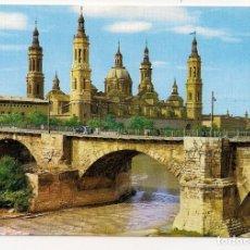Postales: ZARAGOZA - BASILICA DEL PILAR Y PUENTE DE PIEDRA - COMERCIAL C.JOSAN Nº4. Lote 152835806