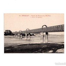 Postales: ZARAGOZA.- PUENTE FERROCARRIL Y RÍO EBRO. Lote 154263126