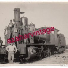Postales: 1935, ESTACION DE FERROCARRIL DE FABARA, ZARAGOZA, TREN MZA, POSTAL FOTOGRAFICA. Lote 154625994