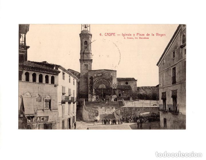 CASPE.(ZARAGOZA).- IGLESIA Y PLAZA DE LA VIRGEN (Postales - España - Aragón Antigua (hasta 1939))