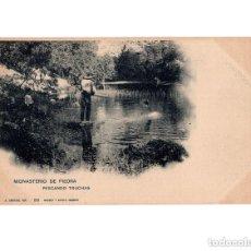 Postales: MONASTERIO DE PIEDRA.(ZARAGOZA).- PESCANDO TRUCHAS. FOTO A. CÁNOVAS. Lote 154704218