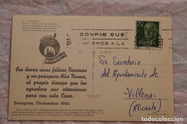 Postales: ZARAGOZA Nº 15 NOCTURNA BASILICA DEL PILAR Y EBRO RAKER FELICITACION 1962 PIROTECNIA ZARAGOZANA - Foto 2 - 155372382