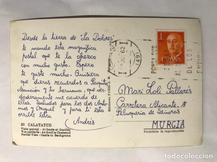 Postales: CALATAYUD (Zaragoza) Postal No.80, Vista Parcial. Al fondo el Castillo. Edita: ediciones Paris - Foto 2 - 155868698