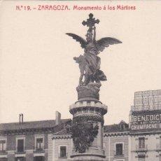 Postales: POSTAL DE ZARAGOZA - MONUMENTO A LOS MÁRTIRES. Lote 162764398