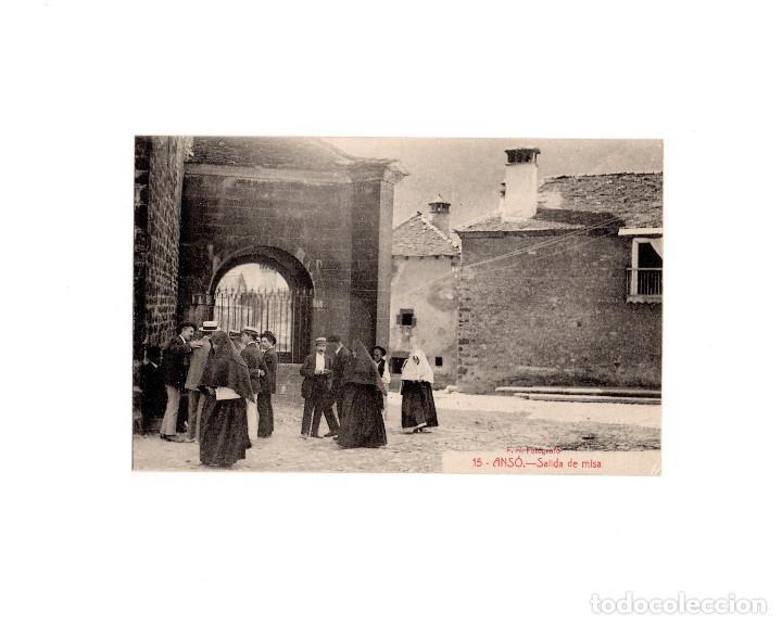 ANSÓ.- SALIDA DE MISA. (Postales - España - Aragón Antigua (hasta 1939))