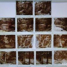 Cartes Postales: 10 NEGATIVOS CLICHÉS CRISTALES ESTEREOSCÓPICOS RELLEY. ZARAGOZA MONASTERIO DE PIEDRA. 220 GR . Lote 163990714