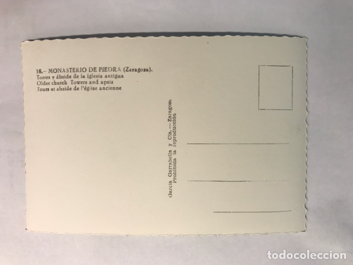 Postales: ZARAGOZA. Monasterio de Piedra. Postal No.16, Torre y abside de la Iglesia antigua. (h.1950?) - Foto 2 - 165402130