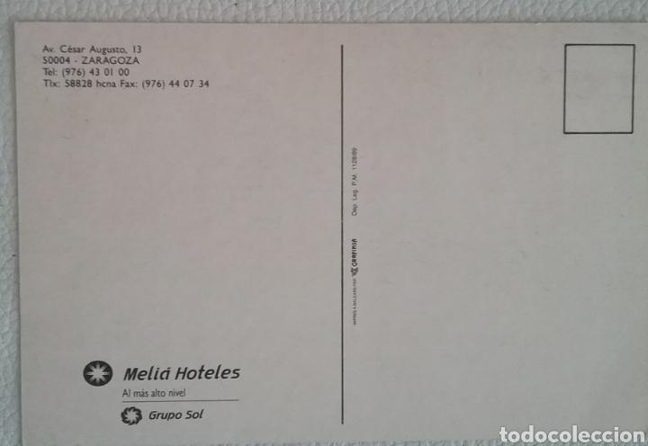 Postales: POSTAL del HOTEL MELIÁ ZARAGOZA, 1989. - Foto 2 - 165403128