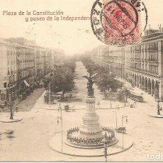 Postales: ZARAGOZA - PLAZA DE LA CONSTITUCIÓN Y PASEO DE LA INDEPENDENCIA - M.A. - CIRCULADA AÑO 1911. Lote 167428104
