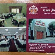 Postales: ALAGÓN, FIGUERUELAS. ZARAGOZA, ARAGÓN. CASA BELTRÁN, HOTEL BAR RESTAURANTE.. Lote 168381276