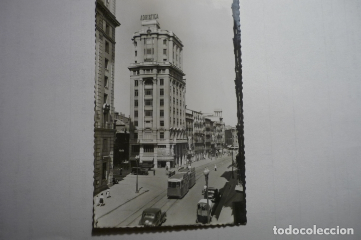 POSTAL ZARAGOZA - CALLE COSO EDIF.LA ADRIATICA CM .CIRCULADA (Postales - España - Aragón Moderna (desde 1.940))