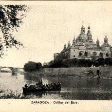 Postales: ZARAGOZA – ORILLA DEL RIO EBRO – EL PILAR - 9 X 14 CMS. Lote 172156647