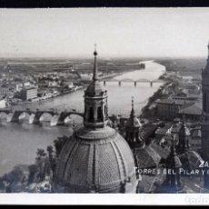Postales: ZARAGOZA, TORRES DEL PILAR Y RÍO EBRO - EDITA GM - SIN CIRCULAR. Lote 172164114