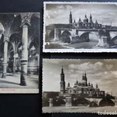 Postales: 3 POSTALES DE ZARAGOZA CIRCULADAS DE DIFERENTES ÉPOCAS, VER FOTOS REVERSO. Lote 172901935