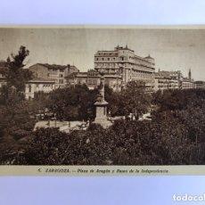 Postales: ZARAGOZA. POSTAL NO. 6, PLAZA DE ARAGON Y PASEO DE LA INDEPENDENCIA. EDITA: M. ARRIBAS (H.1950?. Lote 174022715
