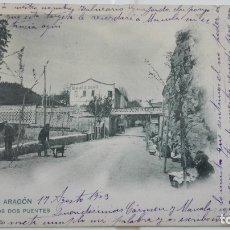 Postales: ANTIGUA POSTAL ZARAGOZA - ALHAMA DE ARAGON, LOS DOS PUENTES , AÑO 1904. Lote 175346379