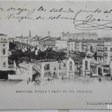 Postales: ANTIGUA POSTAL ZARAGOZA - PUERTA Y PASEO DE STA. ENGRACIA, N° 12 , AÑO 1904. Lote 175346598