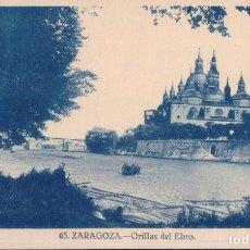 Postales: POSTAL ZARAGOZA - ORILLAS DEL EBRO - 65 - BARCO - PERSONA - PUENTE. Lote 176977030