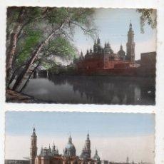 Postales: LOTE DE 2 POSTALES DE ZARAGOZA. VISTAS DE LA BASÍLICA DEL PILAR. AÑOS 50. Lote 177190590