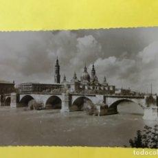 Postales: ZARAGOZA FOTOGRAFICA PUENTE DE PIEDRA Y TEMPLO METROPOLITANO DE NUESTRA SEÑORA DEL PILAR P. Lote 178970540