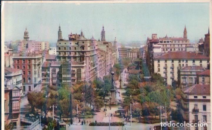 POSTAL ZARAGOZA - PLAZA DE ARAGON Y PASEO DE LA INDEPENDENCIA - 6 ESPERON (Postales - España - Aragón Antigua (hasta 1939))