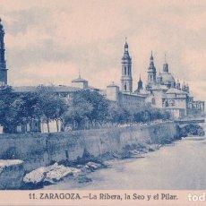 Postales: POSTAL ZARAGOZA.Nº 11.LA RIBERA, LA SEO Y EL PILAR. Lote 179325183