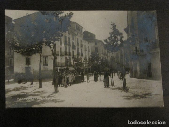 TARAZONA-FUENTE Y PLAZA DEL MERCADO-POSTAL FOTOGRAFICA ANTIGUA-VER FOTOS-(63.709) (Postales - España - Aragón Antigua (hasta 1939))