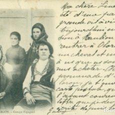 Postales: ARAGON GRUPO ESPAÑOL. POSTAL FRANCESA. CIRCULADA EN 1901. MUY RARA.. Lote 182895540