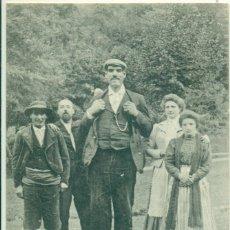 Postales: EL GIGANTE ESPAÑOL FERMÍN ARRUDI. CIRCULADA EN 1908. MUY RARA. POSTAL FRANCESA.. Lote 182895880