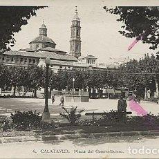 Postales: X122789 ARAGON ZARAGOZA CALATAYUD PLAZA DEL GENERALISIMO ( CON UN BANCO Y PERSONAJE EN EL BANCO ). Lote 188660890