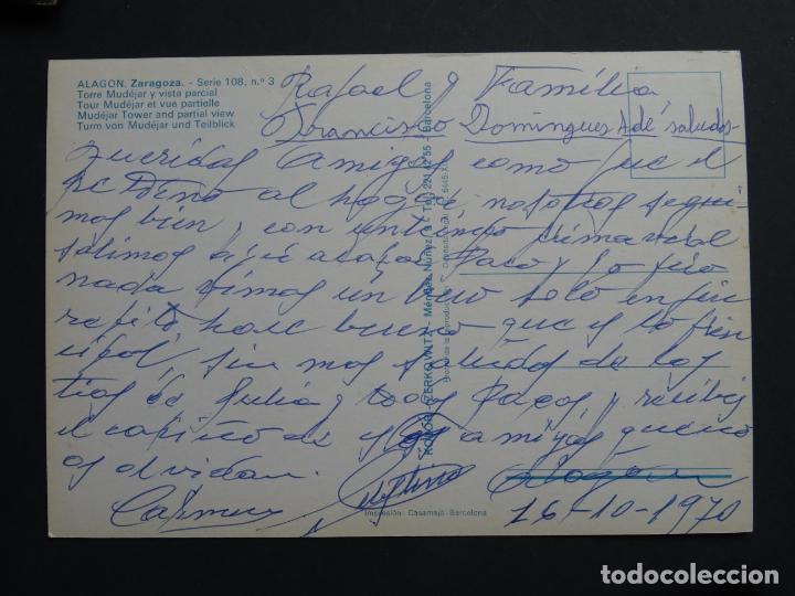 Postales: Alagón (Zaragoza) Torre Mudejar y vista Parcial, postal circulada del año 1970 - Foto 2 - 191393216