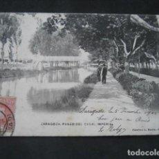 Postales: ZARAGOZA. PASEO DEL CANAL IMPERIAL. L. ESCOLA. Lote 192102591