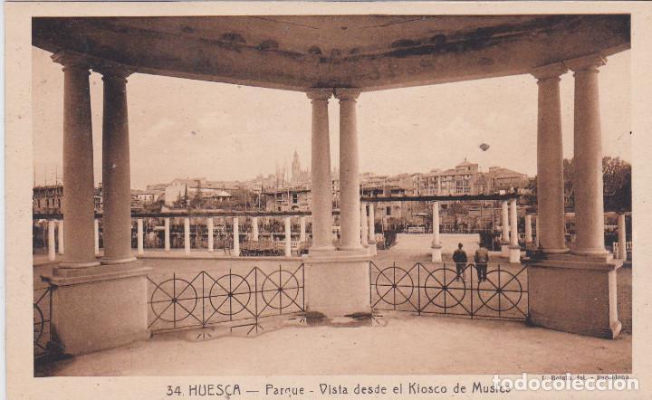 HUESCA - PARQUE - VISTA DESDE EL KIOSKO DE MUSICA (Postales - España - Aragón Antigua (hasta 1939))