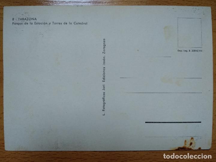 Postales: TARAZONA, ZARAGOZA. PARQUE DE LA ESTACIÓN Y TORRES DE LA CATEDRAL. ED. JOSAN Nº 8. - Foto 2 - 194213248