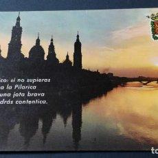 Postales: 11 ZARAGOZA BASILICA PILAR - JOTA - PUESTA SOL/ ARAGON A22. Lote 194355086