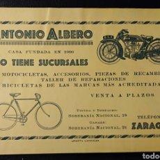 Postales: ZARAGOZA, ARAGON, TARJETA PUBLICITARIA, ANTONIO ALBERO, BICICLETAS Y MOTOCICLETAD6, MUY RARA.. Lote 194508356