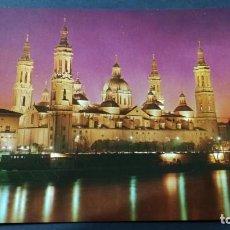 Postales: 382 ZARAGOZA VISTA NOCTURNA TEMPLO PILARD11+28. Lote 194544030