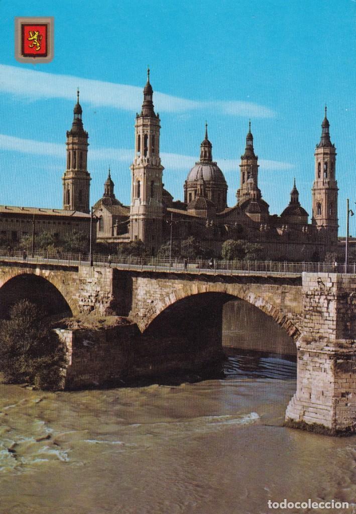 314 ZARAGOZA BASILICA DEL PILAR Y PUENTE DE PIEDRA (SIN CIRCULAR) (Postales - España - Aragón Moderna (desde 1.940))