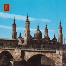 Postales: 314 ZARAGOZA BASILICA DEL PILAR Y PUENTE DE PIEDRA (SIN CIRCULAR) . Lote 195028186
