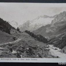 Postales: BENASQUE, VALLE DE ESTOS DESDE CORONAS , POSTAL CIRCULADA DEL AÑO 1946 CON MATASELLOS DE BARBASTRO. Lote 195128691