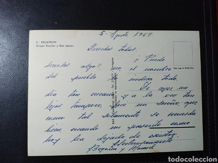 Postales: Escatron, Zaragoza, Aragon, grupo escolar y san Javier. - Foto 2 - 195492110