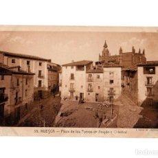 Postales: HUESCA.- PLAZA DE LOS FUEROS DE ARAGON Y CATEDRAL.. Lote 197420078