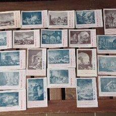 Postales: COLECCION COMPLETA 36 POSTALES CENTENARIO DE LOS SITIOS 1908-TIP.CASAÑAL-PUBLICIDAD DE MATEO LACARTE. Lote 201204877
