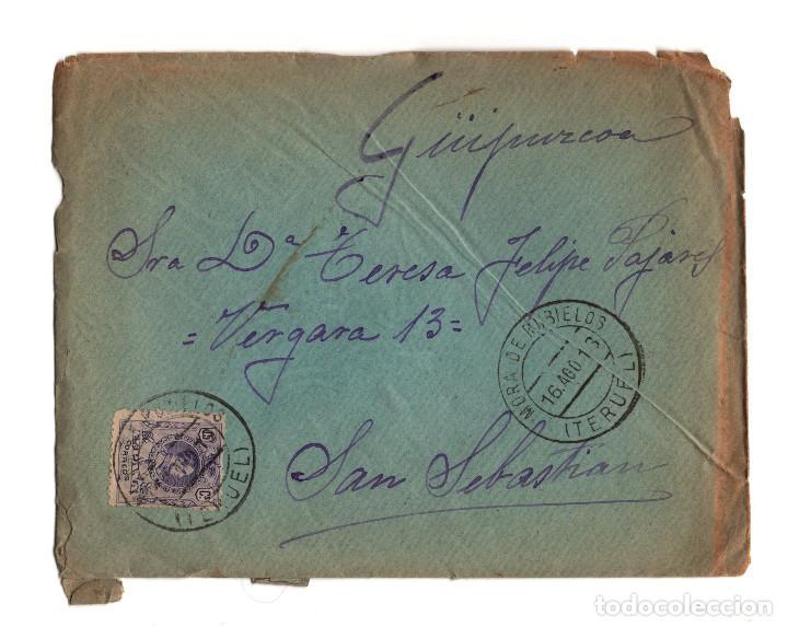 SAN SEBASTIÁN.(GUIPÚZCOA).- CARTERÍA, MATASELLOS. MORA DE RUBIELOS.(TERUEL).1913. (Postales - España - Aragón Antigua (hasta 1939))