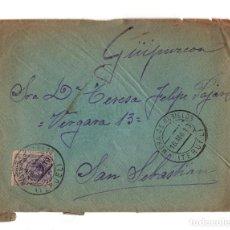 Postales: SAN SEBASTIÁN.(GUIPÚZCOA).- CARTERÍA, MATASELLOS. MORA DE RUBIELOS.(TERUEL).1913.. Lote 202812443