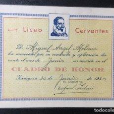 Postales: ZARAGOZA , ARAGÓN , LICEO CERVANTES , 1934 , CUADRO DE HONOR , TAMAÑO POSTAL. Lote 203158603