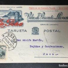 Postales: GRAUS , HUESCA , ARAGÓN, PUBLICITARIA DE FAJAS LA PEÑA , REPUBLICA ,RARA. Lote 203416963