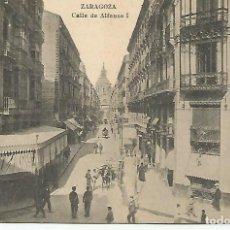 Postales: ZARAGOZA.CALLE DE ALFONSO I.... 2 POSTALES MUY ANTIGUAS.MUY BIEN CONSERVADAS.. Lote 204602926